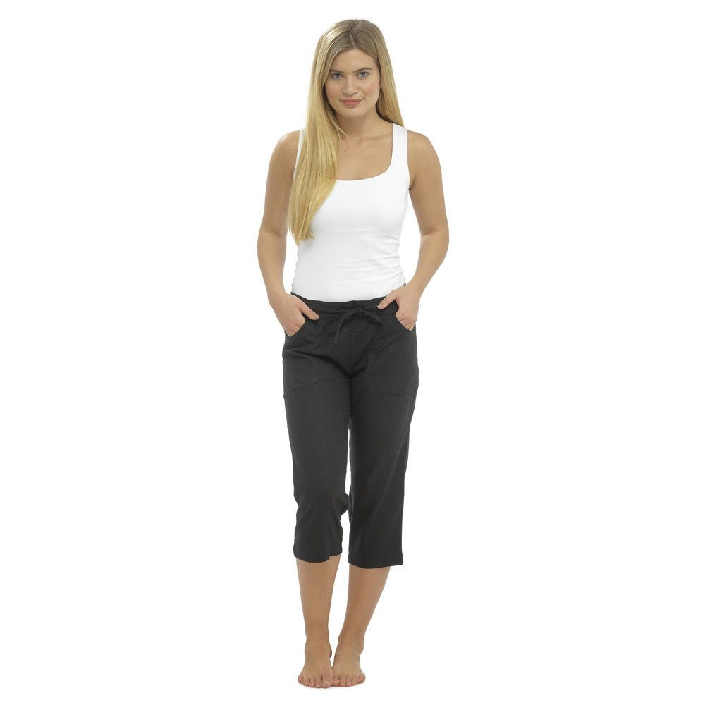 exclusive range best price look out for Ladies Linen Cropped Trousers Womens 3 4 Length Shorts UK ...